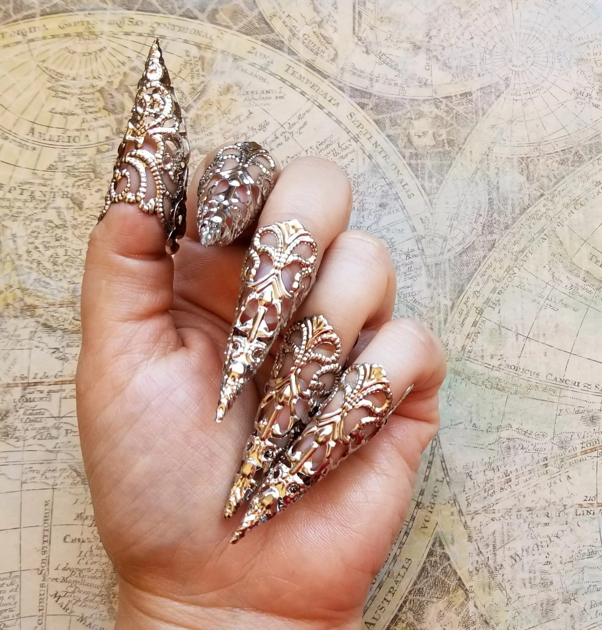 silver stiletto nails gothic