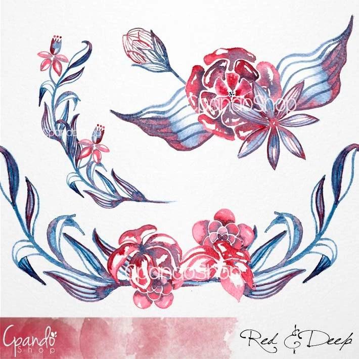 Flores Rojas Y Azules Clip Art Tatuaje Clip Art Flores Etsy