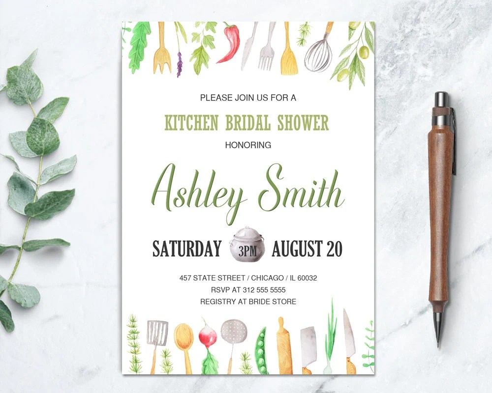 kitchen bridal shower electric stoves invitation cooking pampered chef il 570xn