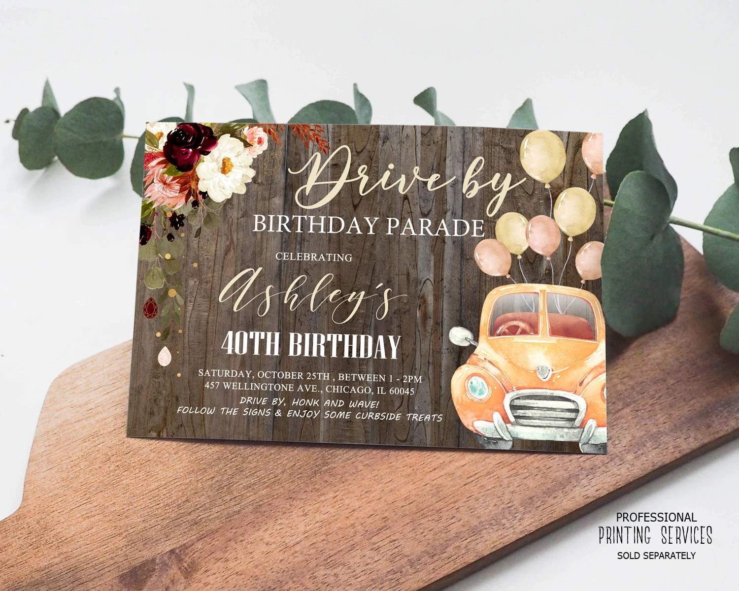 rustic drive by birthday parade