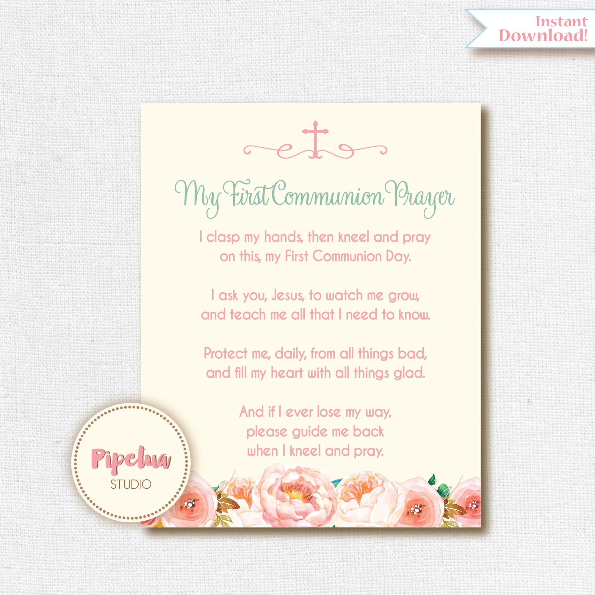 First Communion Prayer First Holy Communion Poster Girl