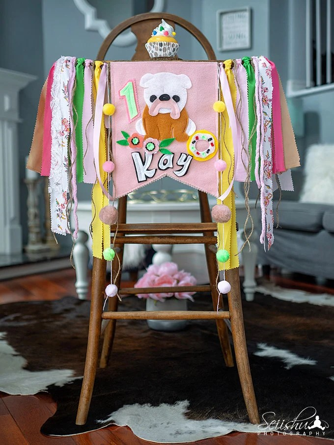 dog high chair arm covers for recliners birthday banner 1st pink