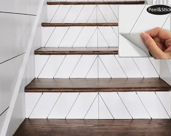 Stair Riser Vinyl Etsy | Tile Risers On Wood Stairs | Stair Tread | Decorative | Wood Finish | Stair Outdoors | Wooden