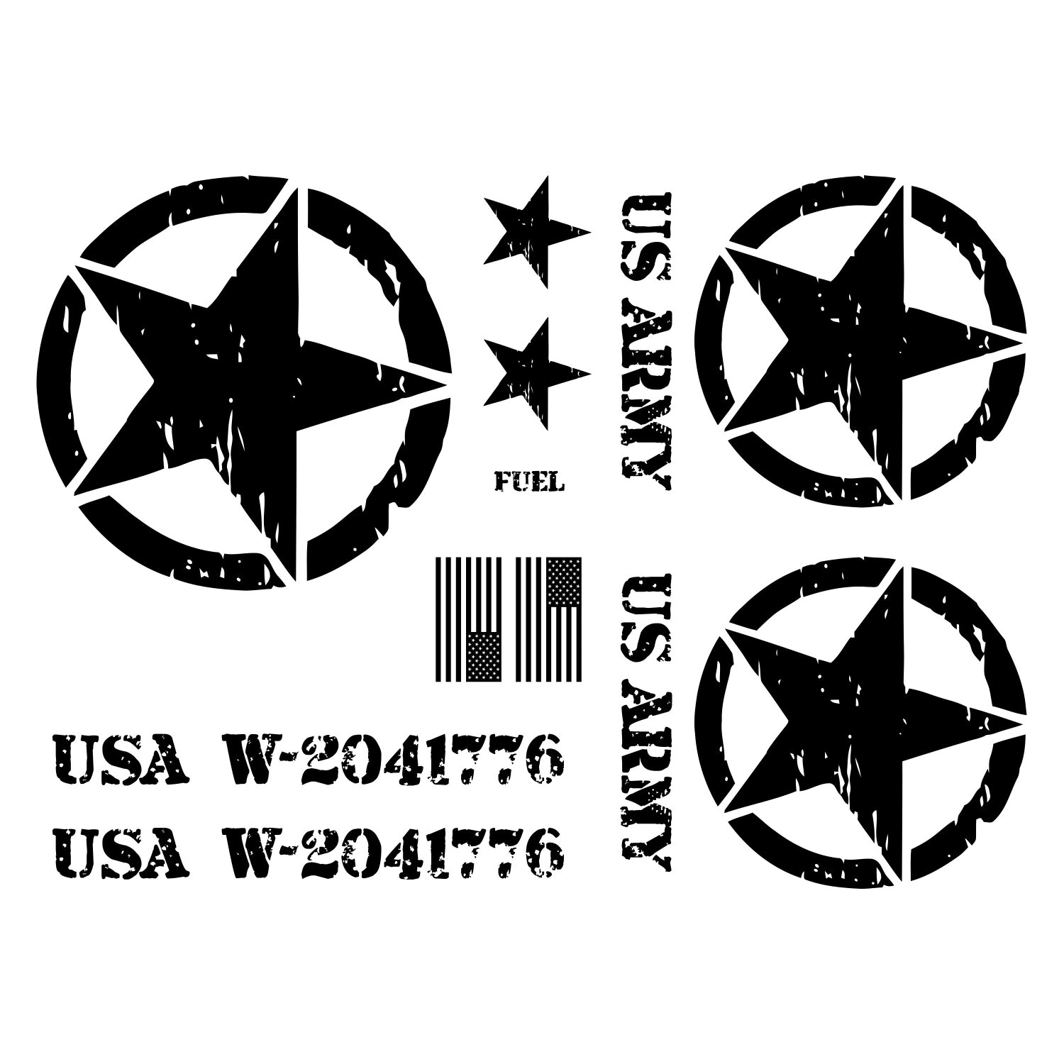 Jeep Wrangler Us Army Star Decal Kit 3m Matte Black Custom
