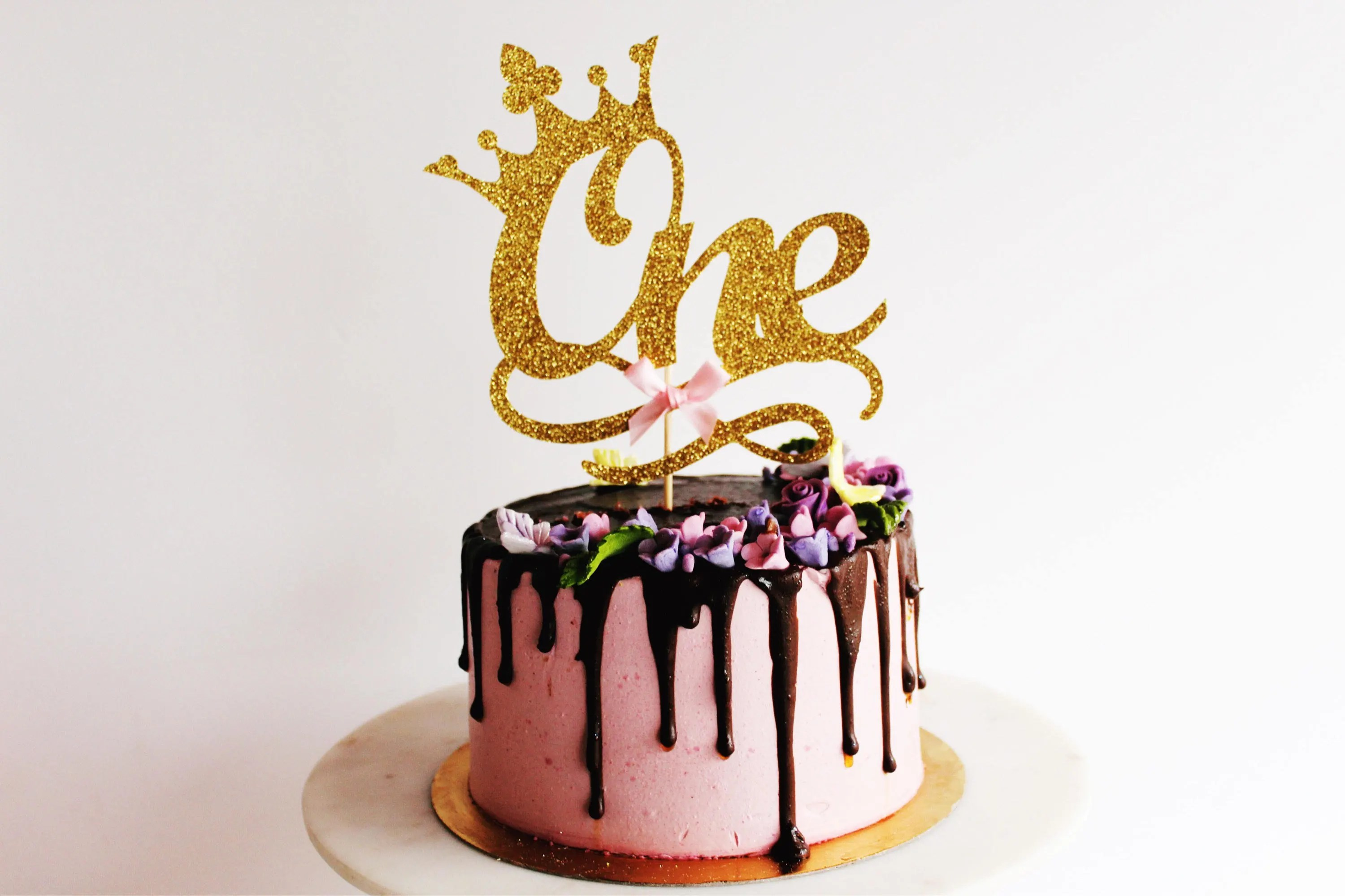 One Crown Gold Glitter Card Cake Topper Princess Party Baby Etsy
