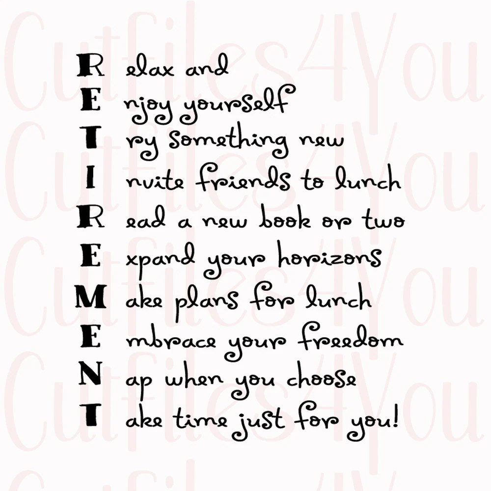 Retirement Acrostic Poem for retired SVG gift for coworker