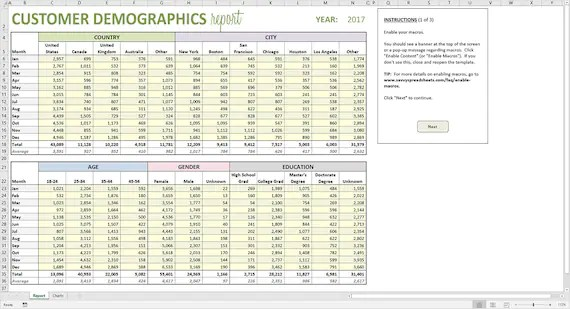 You must have seen a demographics chart like the one above and wondered how to make your own. Customer Demographics Report Excel Template Printable Etsy