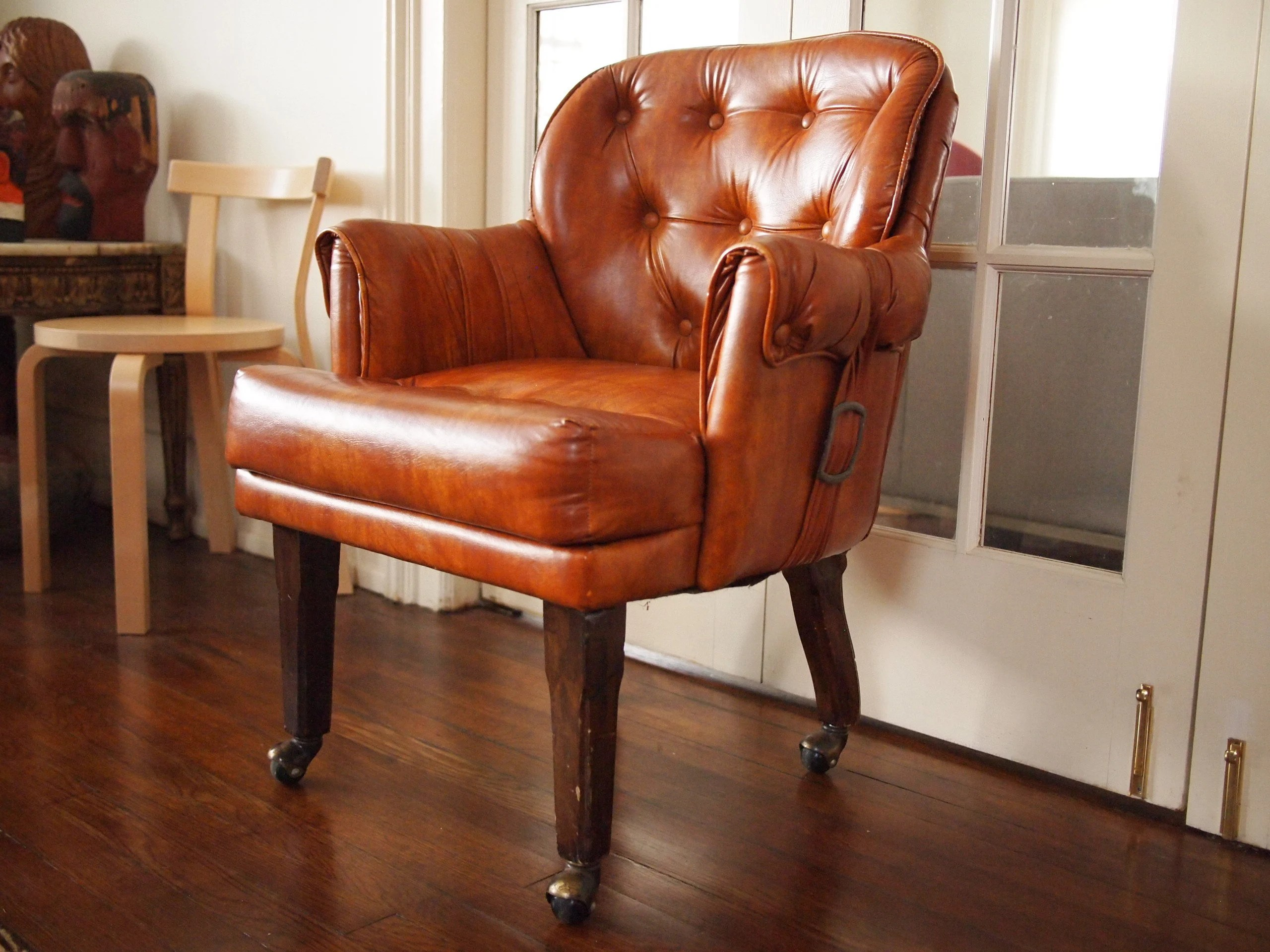 vintage arm chair washing ikea covers leather armchair etsy 2 available tufted tan faux desk library mid century modern art deco victorian danish eames knoll era