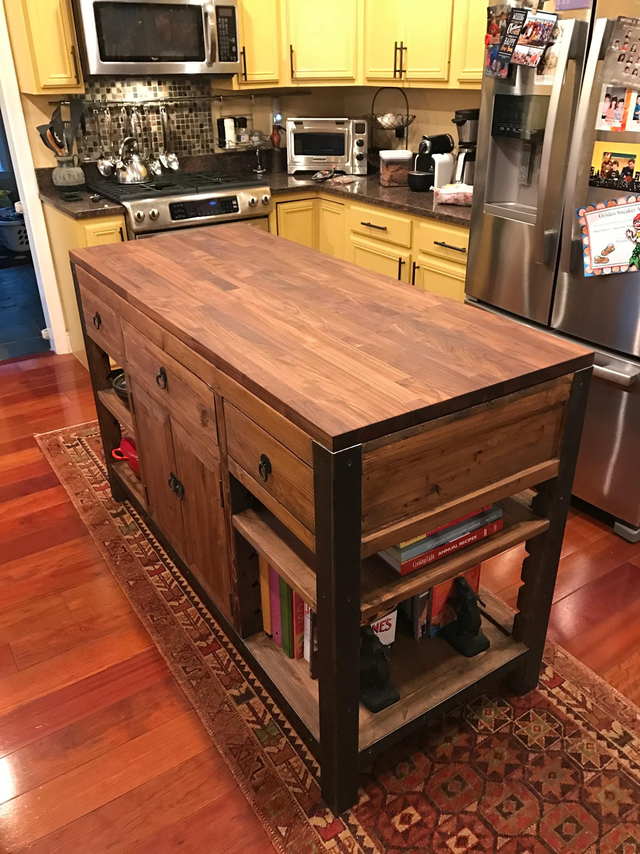 walnut butcher block desk
