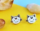 White Lunar Cat Earrings