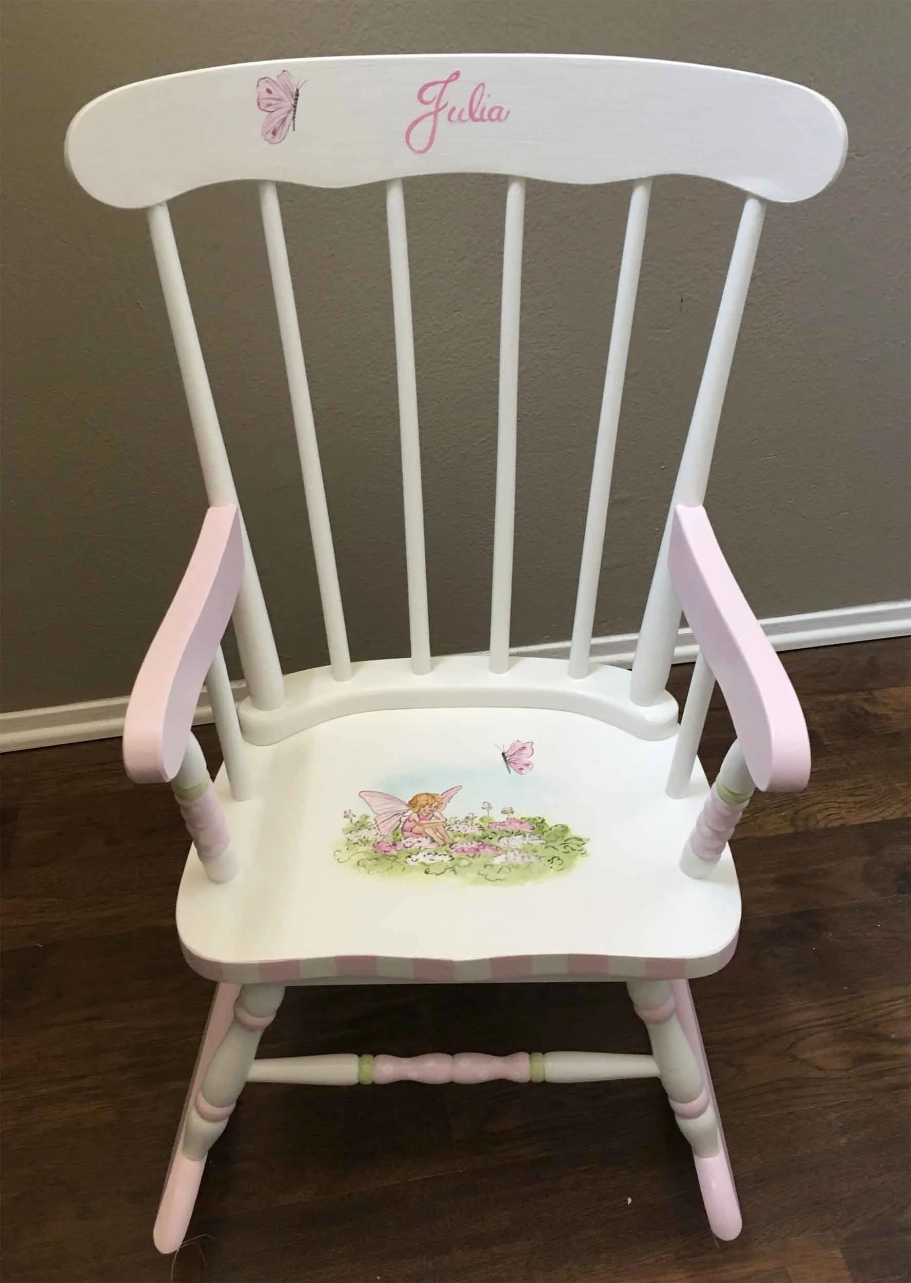 rocking chair kids mickey mouse flower fairy hand painted etsy image 0