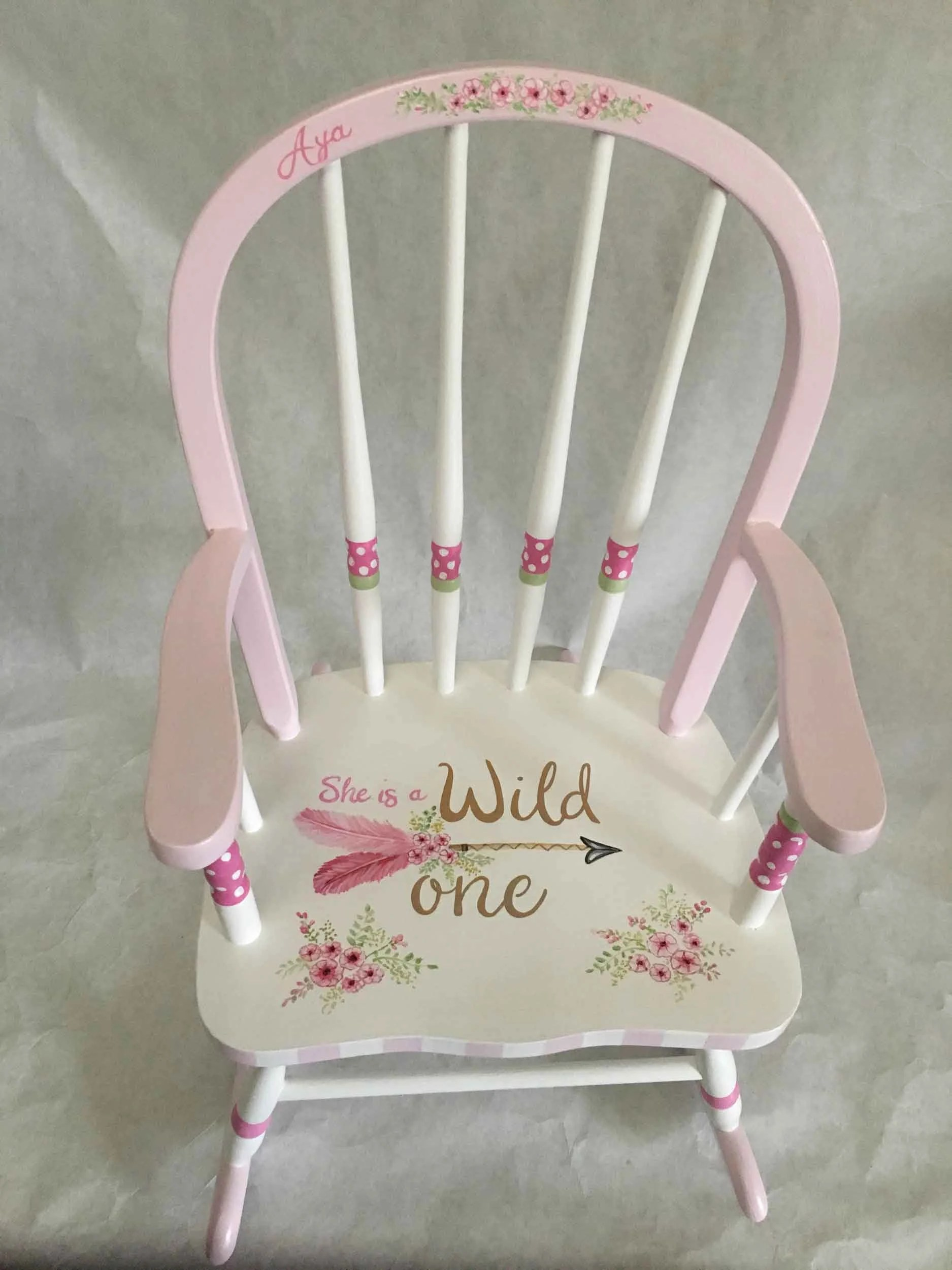 little girl rocking chair sciatic nerve cushion hand painted girls child s etsy image 0