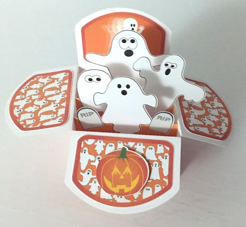 Halloween Ghost Card  Pop Up  3D  Pumpkins  Kids  Family image 0