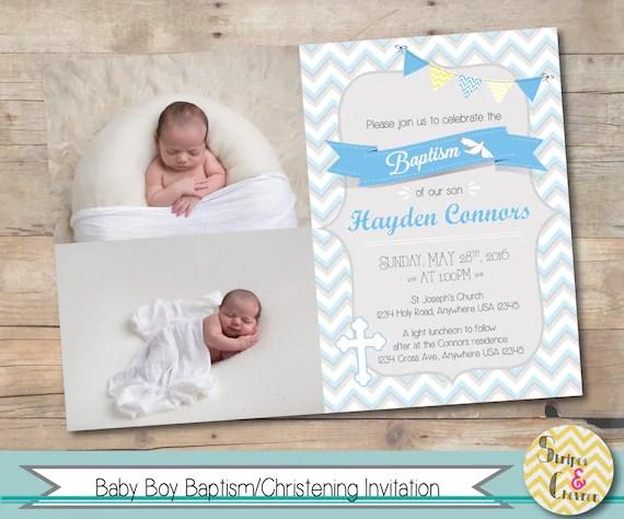 boy baptism invitation personalized