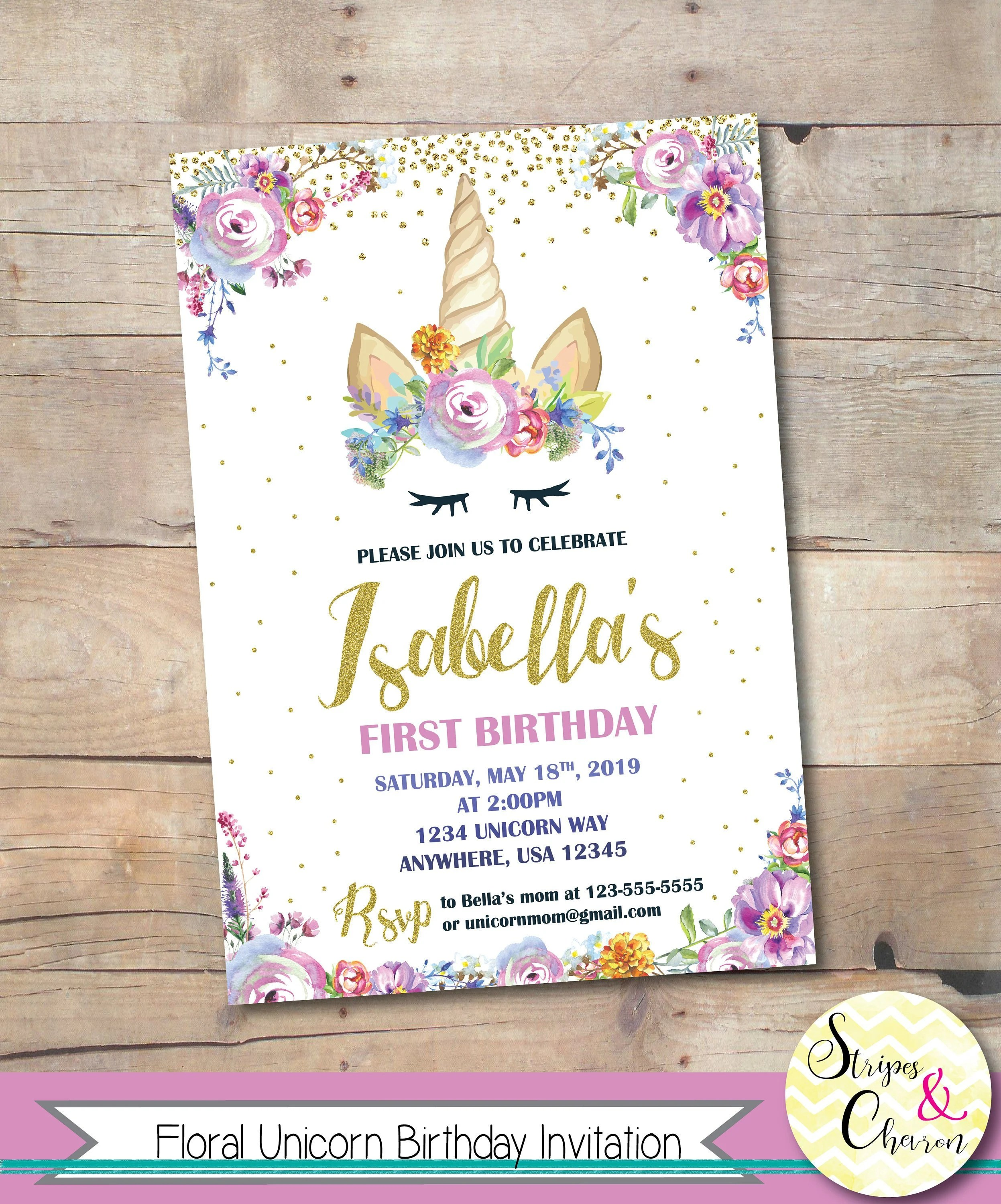 floral unicorn birthday invitation unicorn first birthday printable purple pastel watercolor unicorn invite unicorn theme party invite