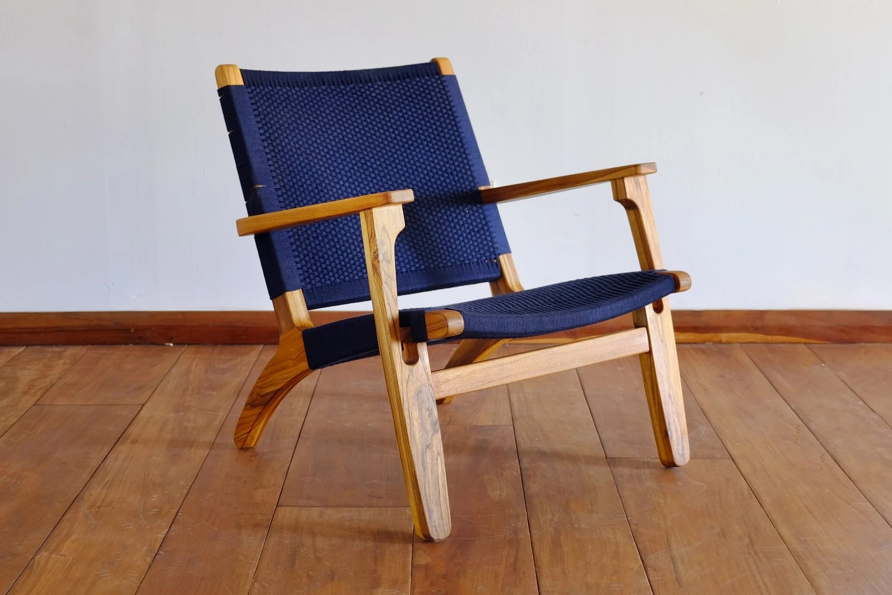 navy blue accent chairs hans wegner shell chair mid century modern armchair lounger etsy 50