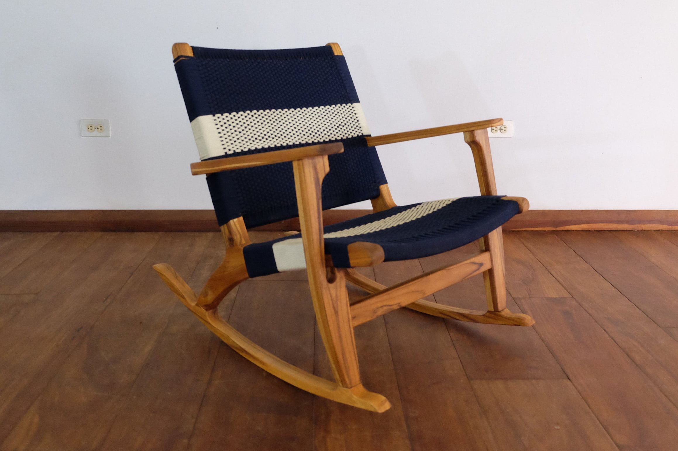 Blue And White Striped Chair Masaya Rocking Chair In Navy Blue White Stripe Teak Mid Century Modern Armchair Accent Chair Lounger Hardwood Furniture