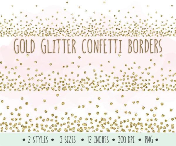 gold glitter confetti borders clip