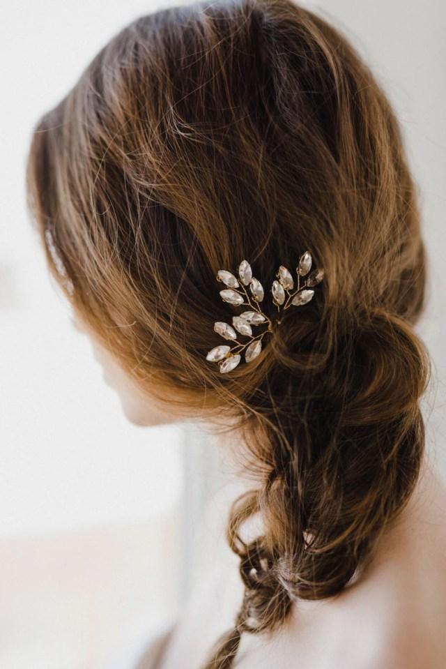 crystal hair pins | bridal hair pins | gold hair pins | wedding hair pins | leaf hair comb | crystal leaf hair pins | gold nora hair pin