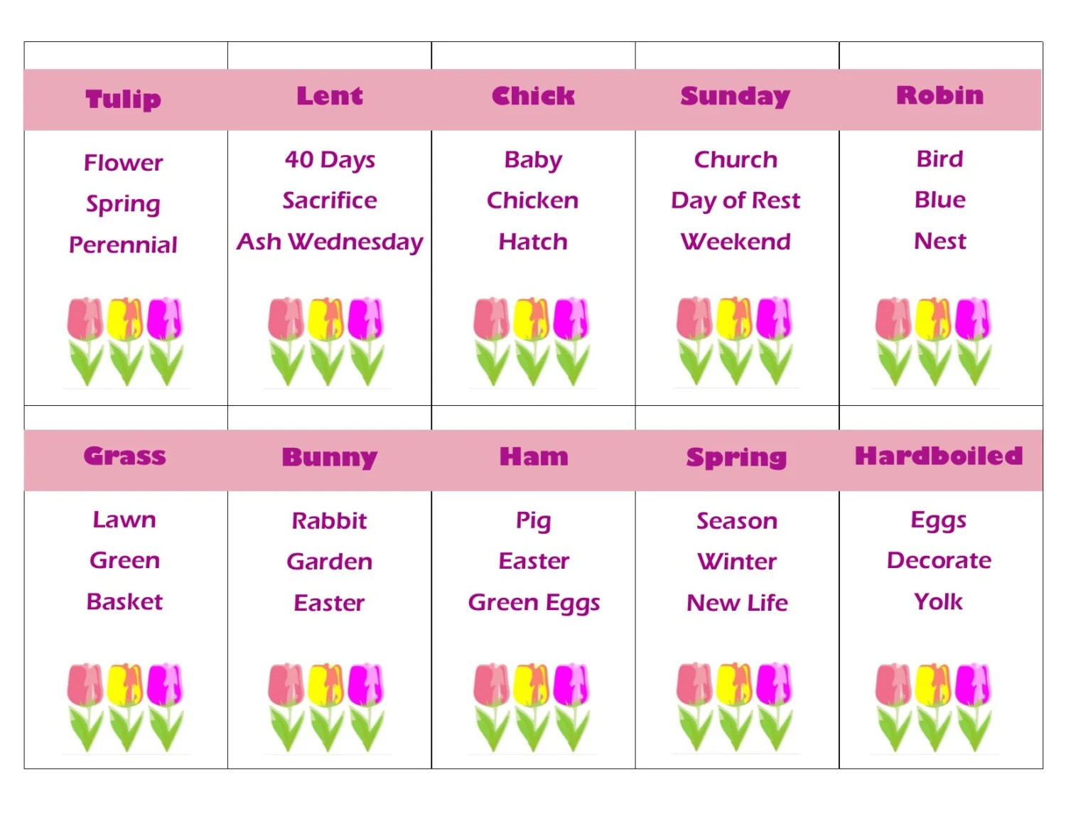 Printable Easter And Spring Game Taboo Cards Instant