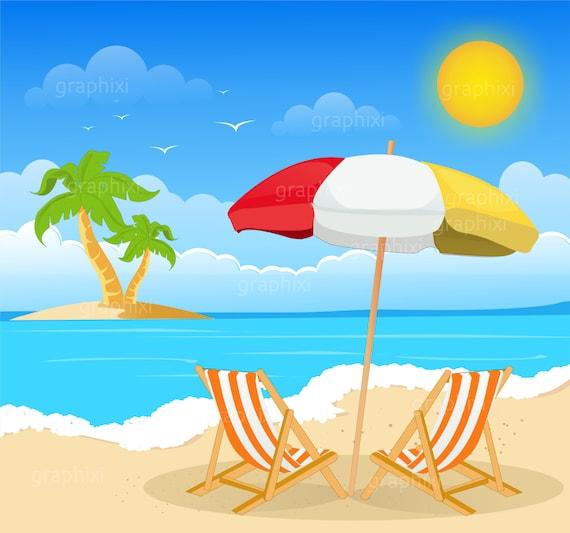 clipart beach summer