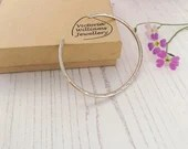Handmade cuff bangle, handmade using recycled sterling silver, minimal hammered texture, unisex.