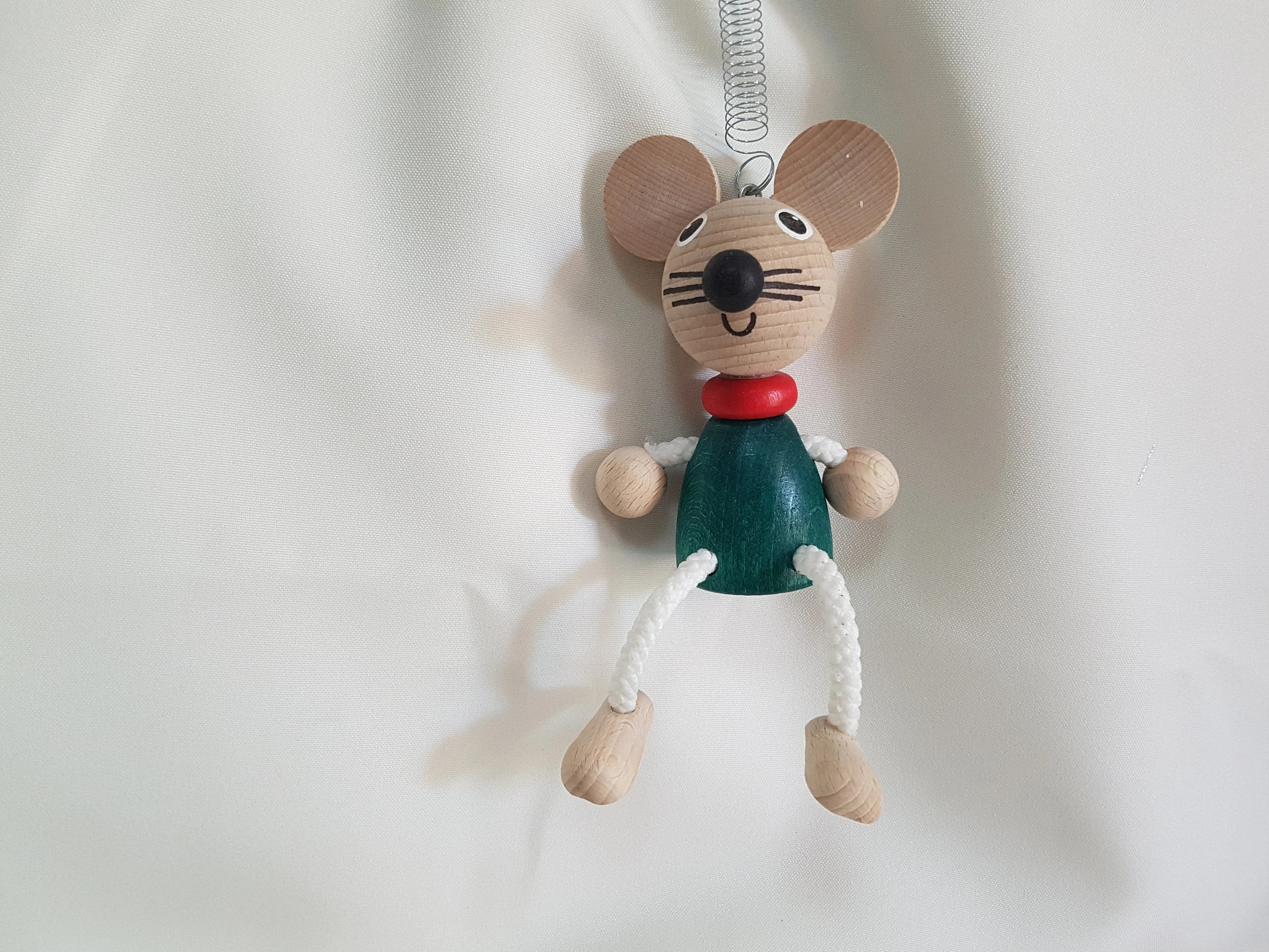 Mouse Personalizable Kids Toys Wooden Mouse Doll on Coil image 3