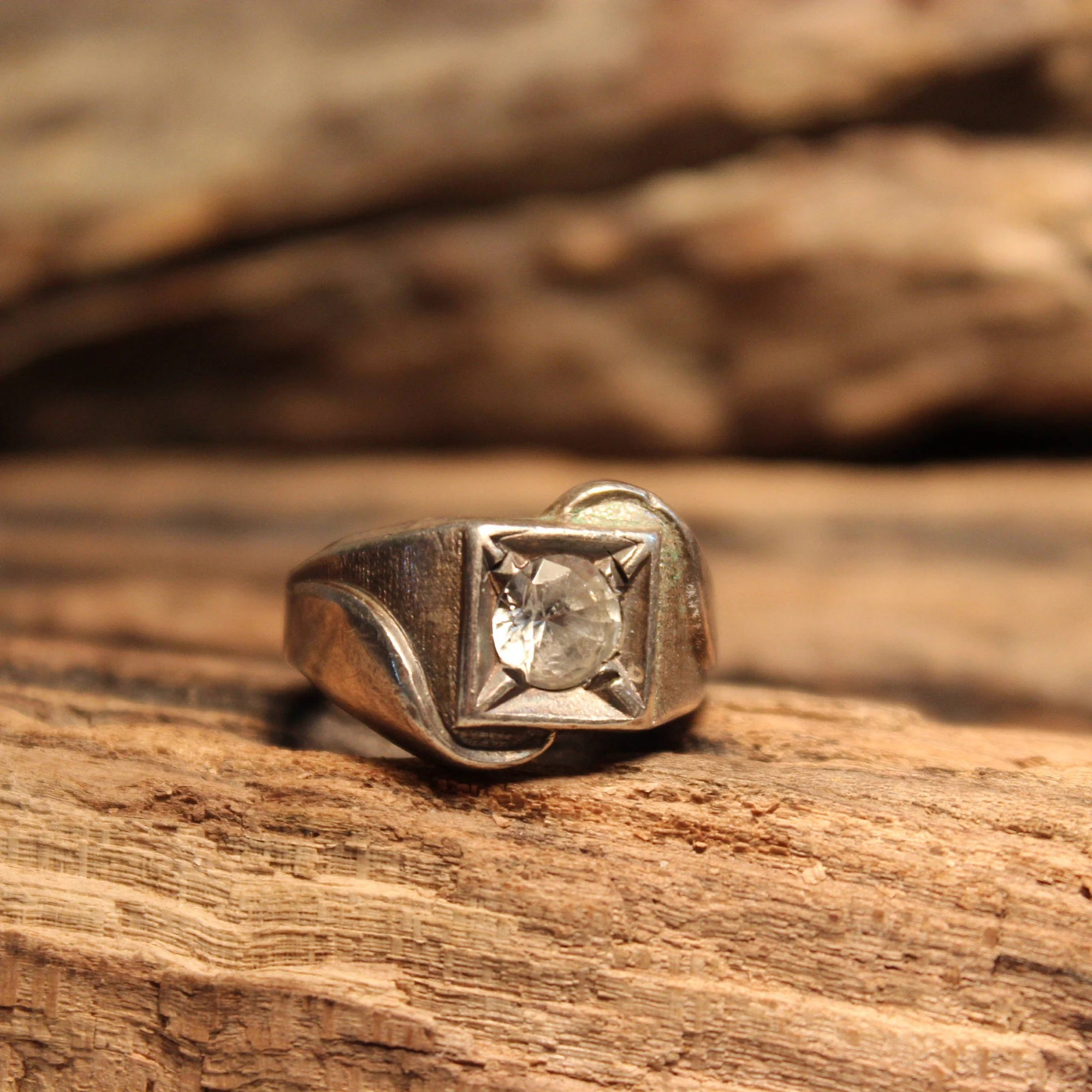 Vintage Herren Ring Cubic Solitaire Silber Ring 925