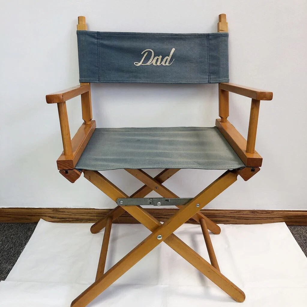 Folding Director Chair Dad Directors Chair Wooden Blue Canvas Folding Commander Chair Vintage Seat Camping Chair Folding Portable Blue Director Seat Father S Day