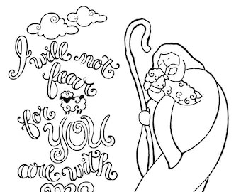 Psalm 23 coloring page in three sizes: 8.5X11 8X10