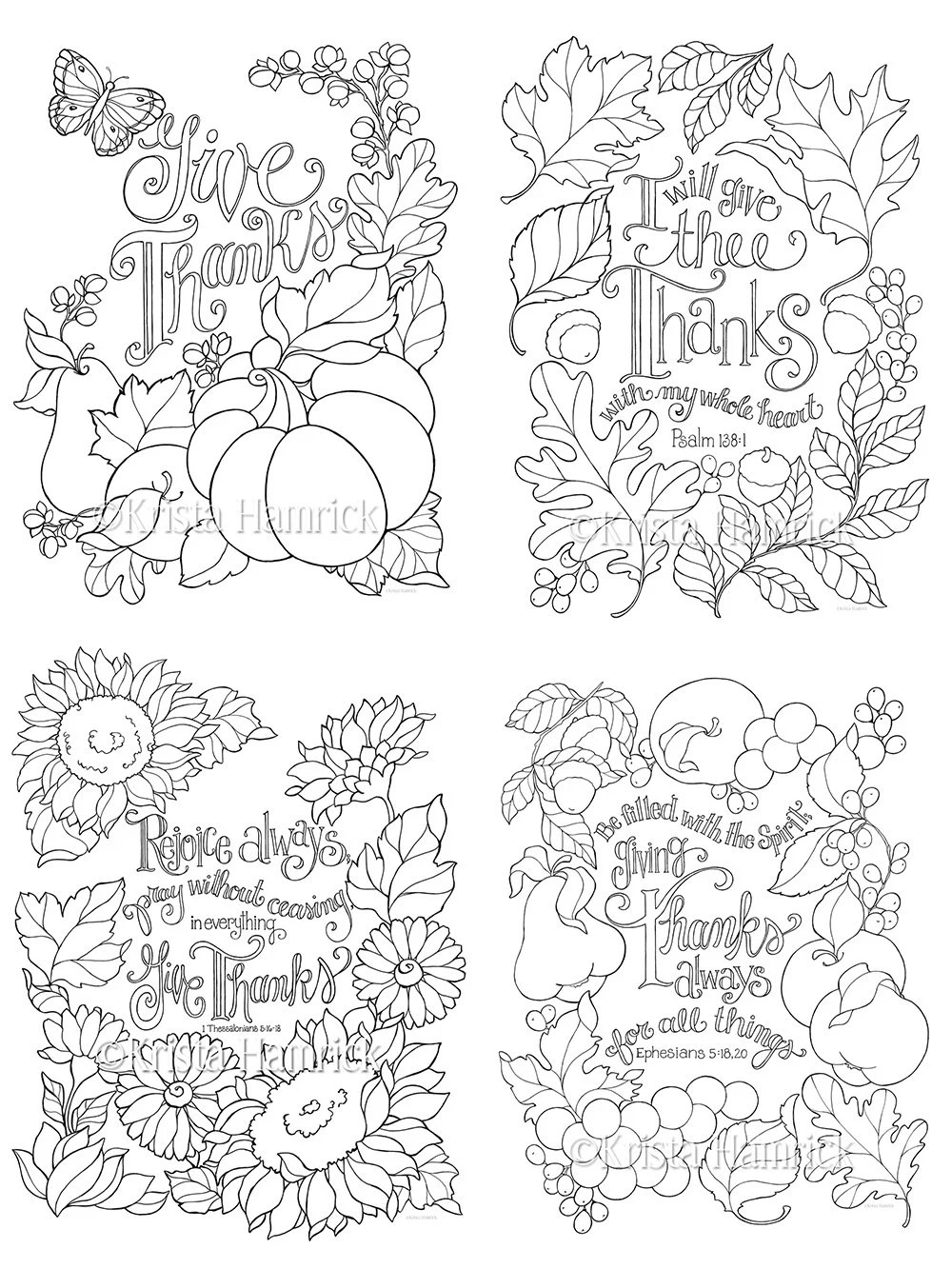 Grateful Heart series of four coloring pages in two sizes: