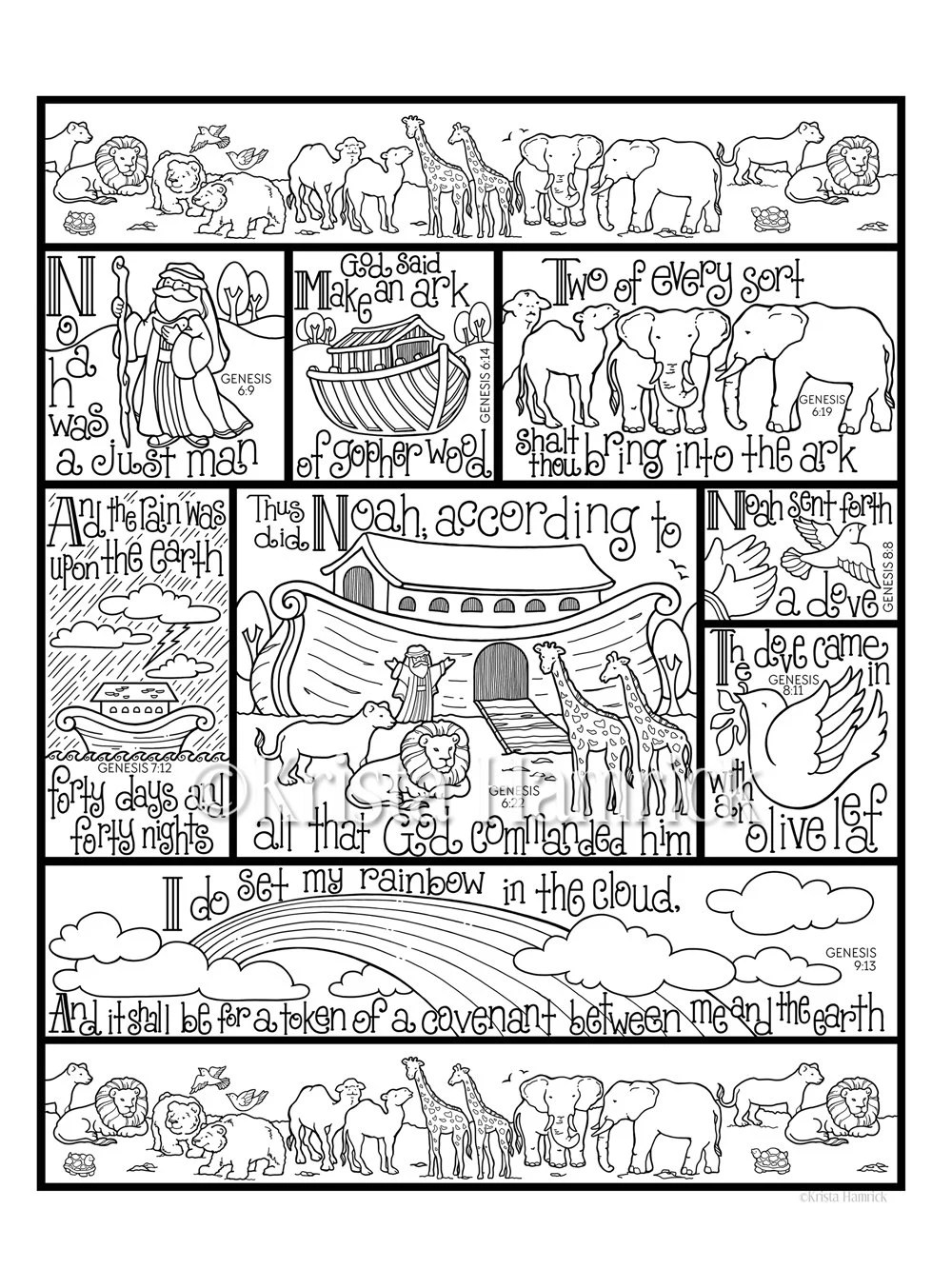 Noah Interieur Noah S Ark Coloring Page In Three Sizes 8 5x11 8x10 Suitable For Framing 6x8 For Bible Journaling Tip In