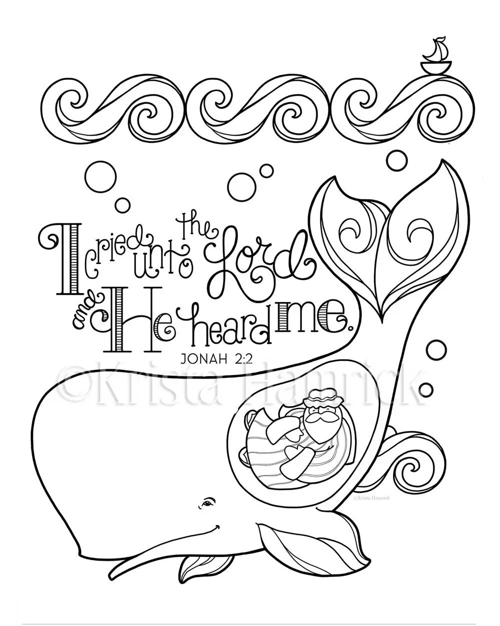 Jonah and the Whale coloring page 8.5X11 Bible journaling