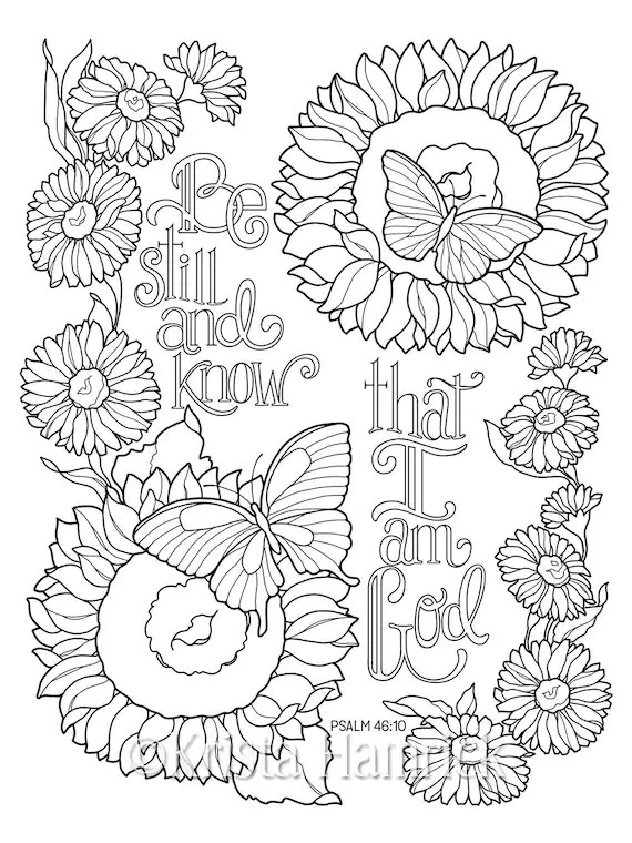 Be Still and Know coloring page in two sizes: 8.5X11 Bible