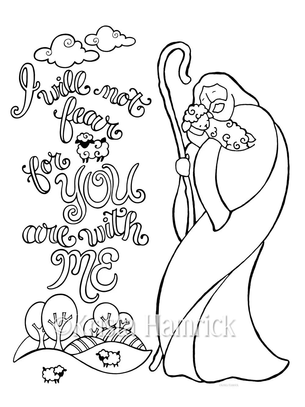 Good Shepherd coloring page in two sizes: 8.5X11 and Bible