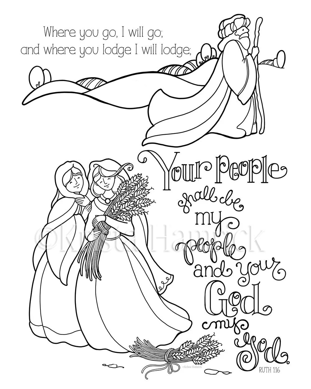 Ruth coloring page in two sizes: 8.5X11 Bible journaling
