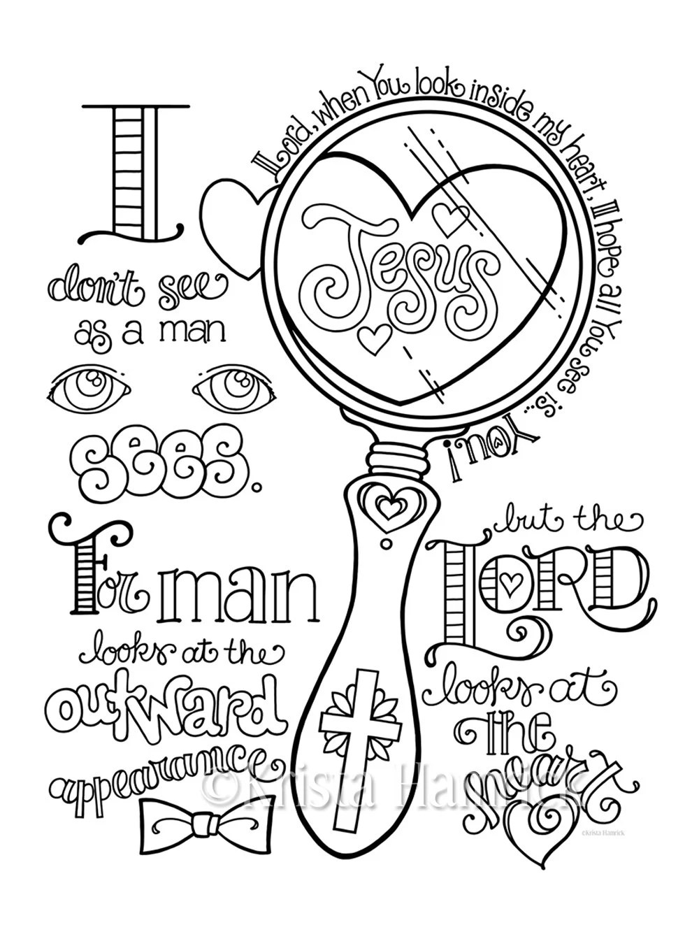 Look in My Heart coloring page 8.5X11 Bible journaling