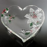 Mikasa Heart Bowl Holiday Bloom Poinsettia Pattern Holiday Dish Christmas Bowl Pressed Glass 10 Inch Discontinued