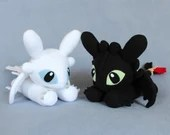 MADE TO ORDER Night Fury and/or Light Fury Dragon Plush