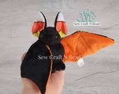 MADE TO ORDER Black Bat Plush with Candy Corn Ears Scented or No Scent