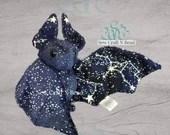 Made to Order Dark Blue Sparkles GLOW in the DARK Galaxy Constellation Bat Plush Scented or No Scent