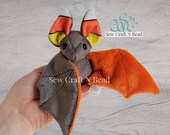 MADE TO ORDER Gray Bat Plush with Candy Corn Ears Scented or No Scent
