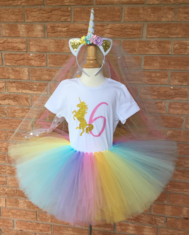Girl S Unicorn Birthday Outfit 6th Birthday Tutu Rainbow