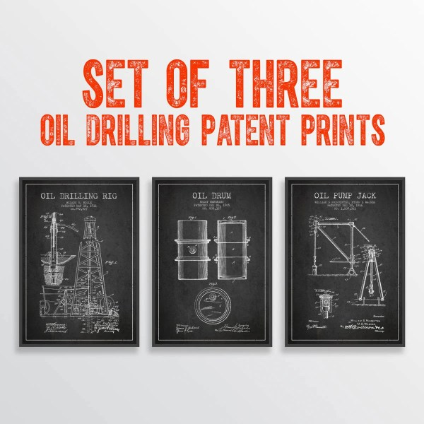 Oil Drilling Patent Posters Set Of Three