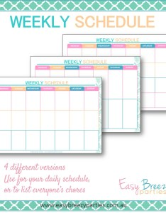 Weekly schedule printable timetable planner family chore chart instant digital download also rh catchmyparty