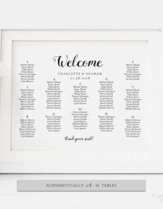 Image also wedding table seating chart poster alphabetical or by tables etsy rh