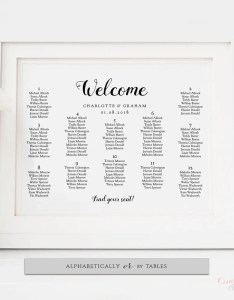 Wedding table seating chart poster alphabetical or by tables      sizes pdf template be mine edit in acrobat also rh connieandjoandiy