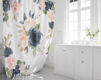 floral shower curtain etsy