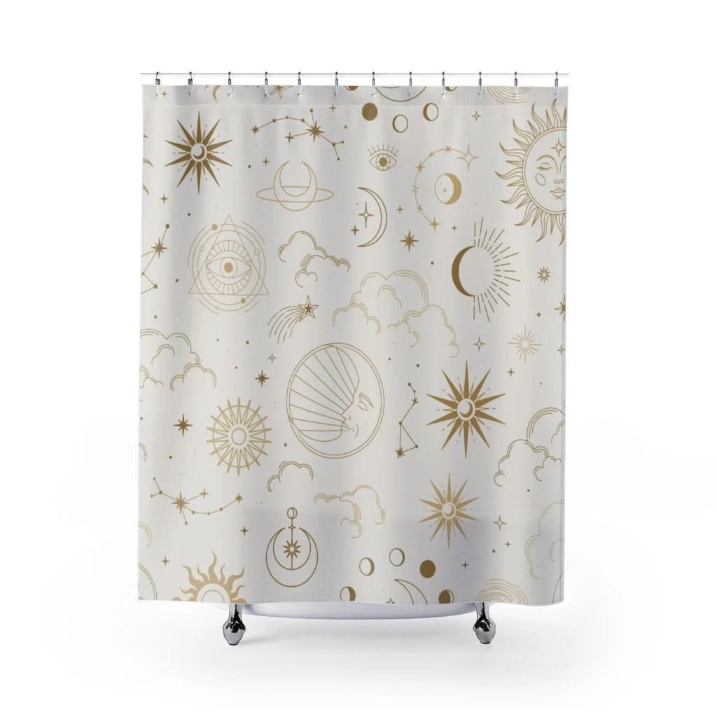 stars shower curtain etsy