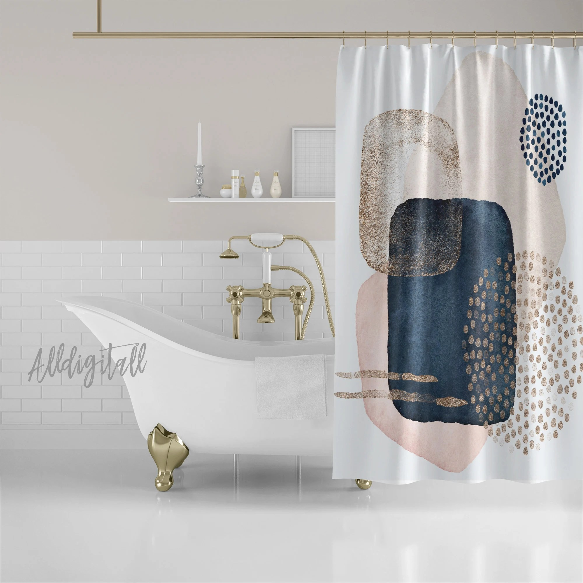 watercolor shower curtain abstract bathroom decor pink and navy bathroom mat contemporary shower curtains modern bathroom decor modern